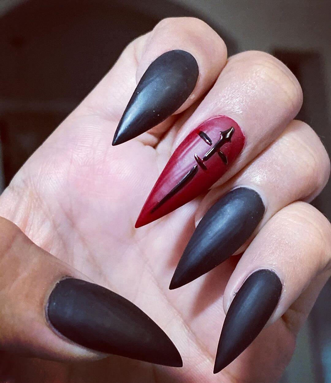 cercueil vampire ongles mats halloween