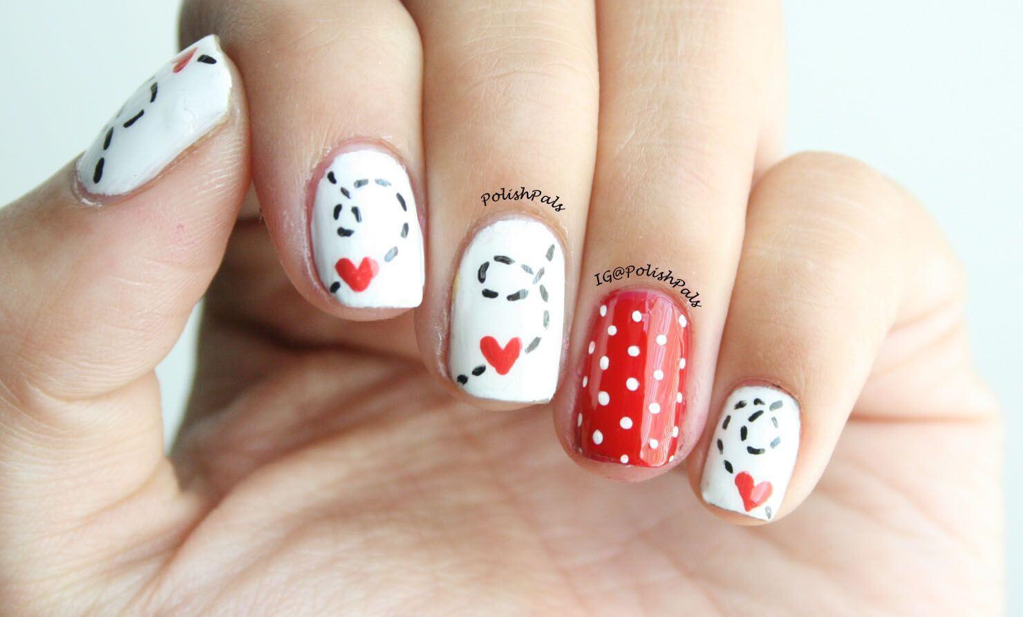 Des ongles d'amour avec des cœurs pour les romantiques! + 170 dessins 16