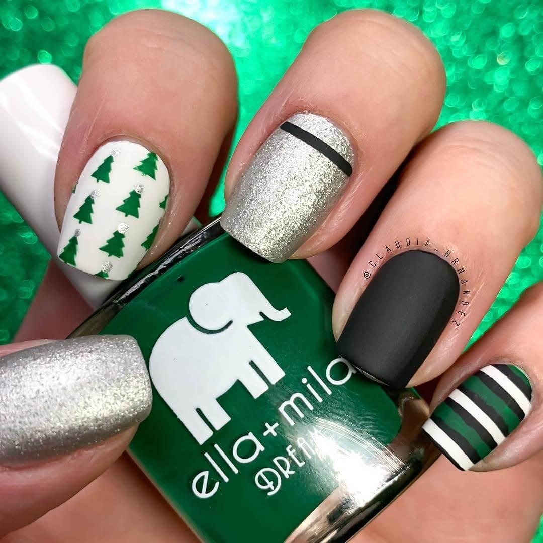 d'élégants ongles de Noël noirs et verts argentés