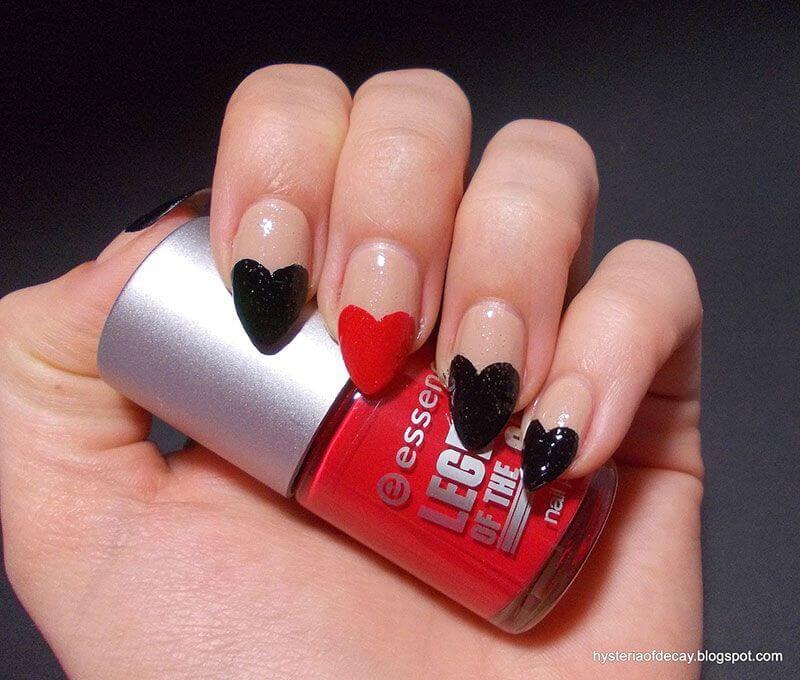 Des ongles d'amour avec des cœurs pour les romantiques! + 170 designs 25