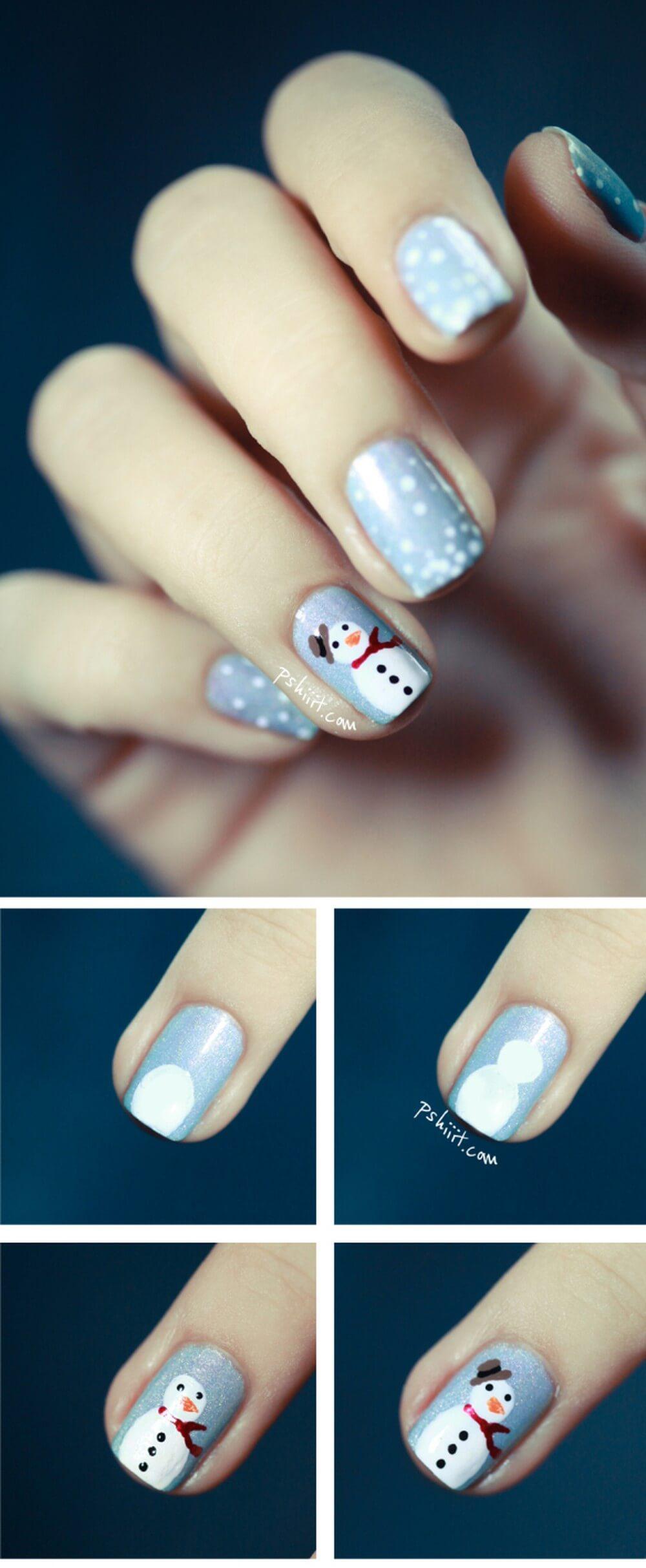Les ongles de Noël pour les filles pas à pas
