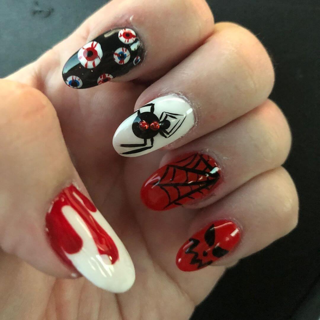 modèles de ongles d'araignée pour l'halloween