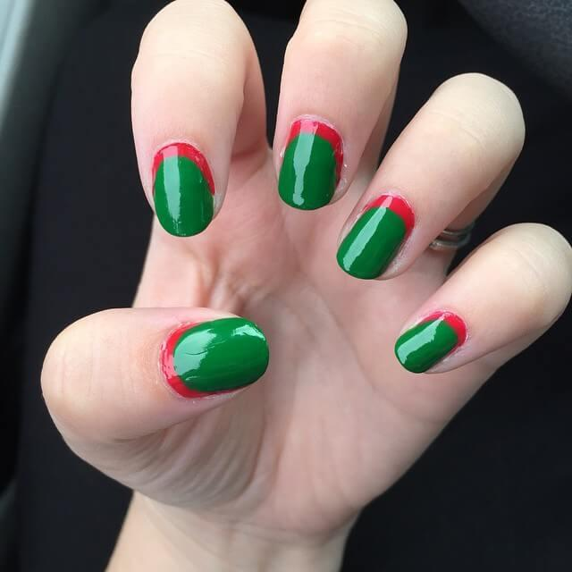 Noël simple à ongles rouges et verts