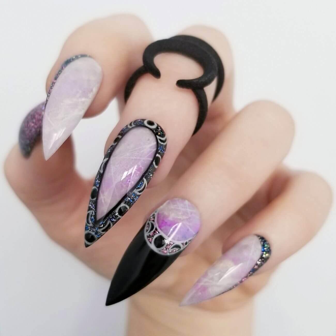 ongles acryliques sorcière halloween