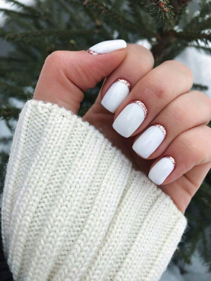 ongles blancs simples pour la mariée