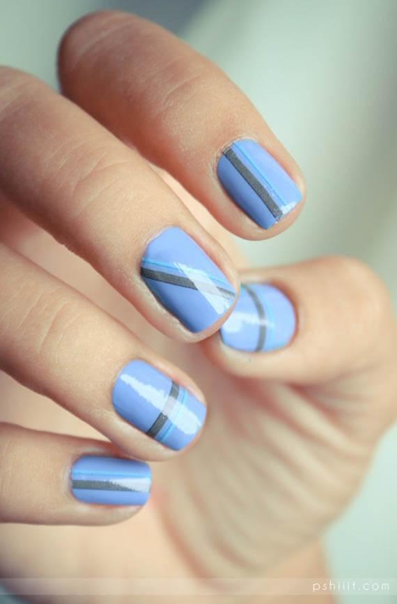 Plus de 80 motifs de ongles décorés en bleu clair 41