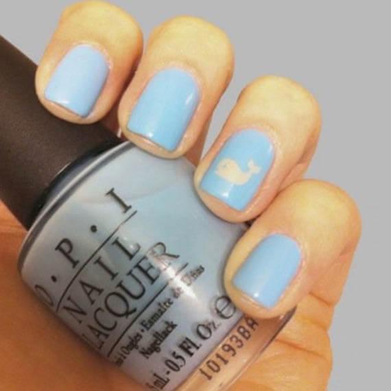 Plus de 80 motifs de ongles décorés en bleu clair 45
