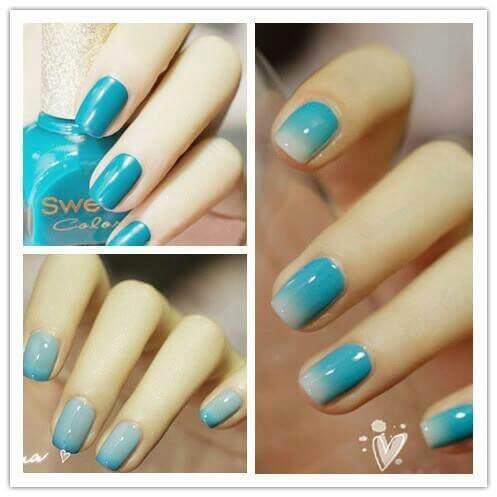 Plus de 80 motifs de ongles décorés en bleu clair 48