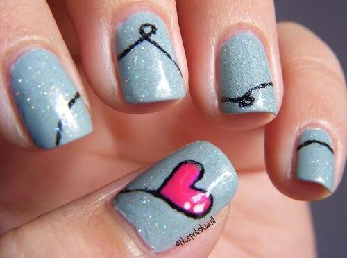 Plus de 80 motifs de ongles décorés en bleu clair 62