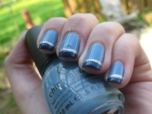 Plus de 80 motifs d'ongles décorés en bleu clair 63