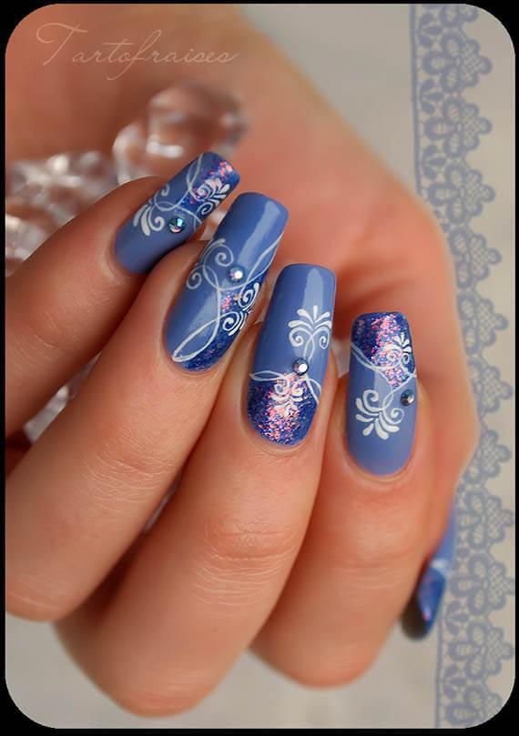 Plus de 80 motifs de ongles décorés en bleu clair 67