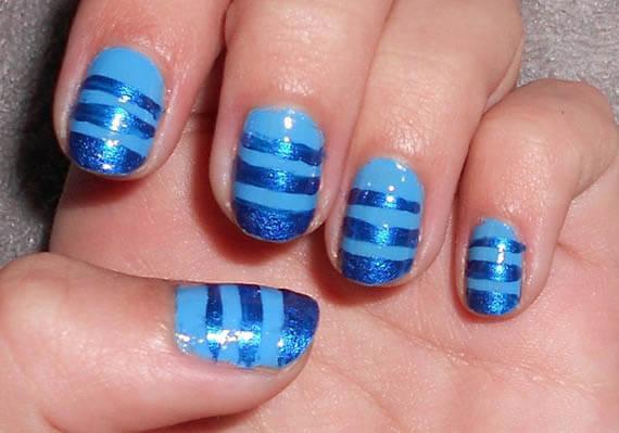 Plus de 80 motifs de ongles décorés en bleu clair 23