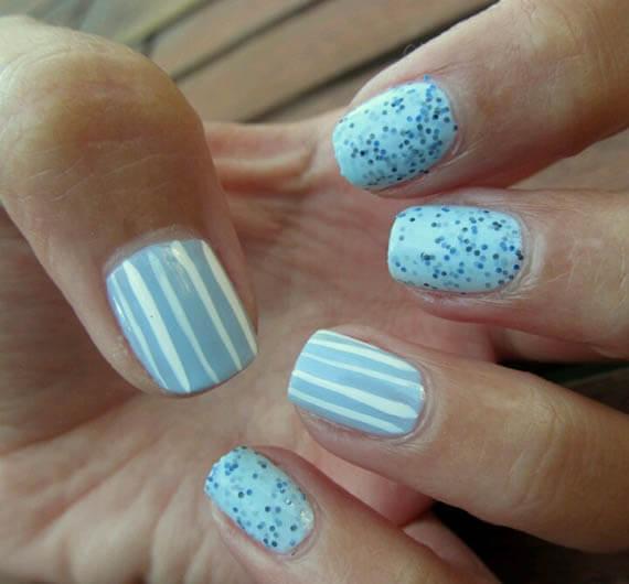 Plus de 80 motifs de ongles décorés en bleu clair 24