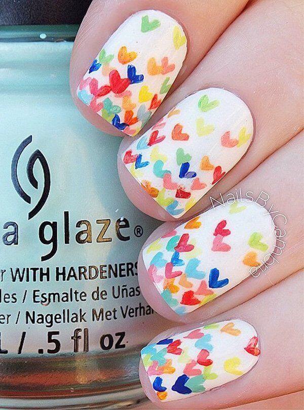 Des ongles d'amour avec des cœurs pour les romantiques! + 170 designs 32