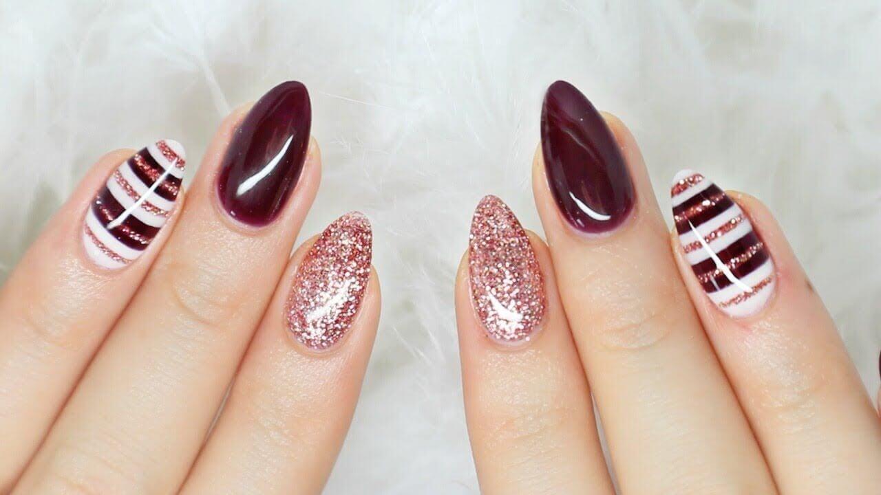 ongles couleur vin décorés