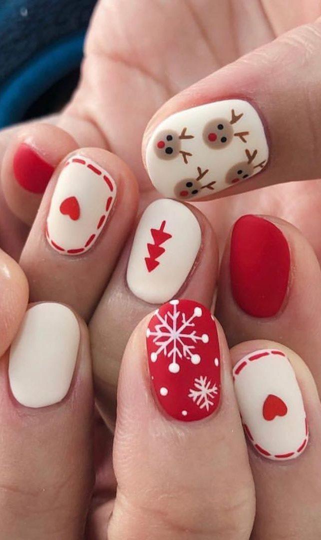 ongles de Noël rouges et blancs simples
