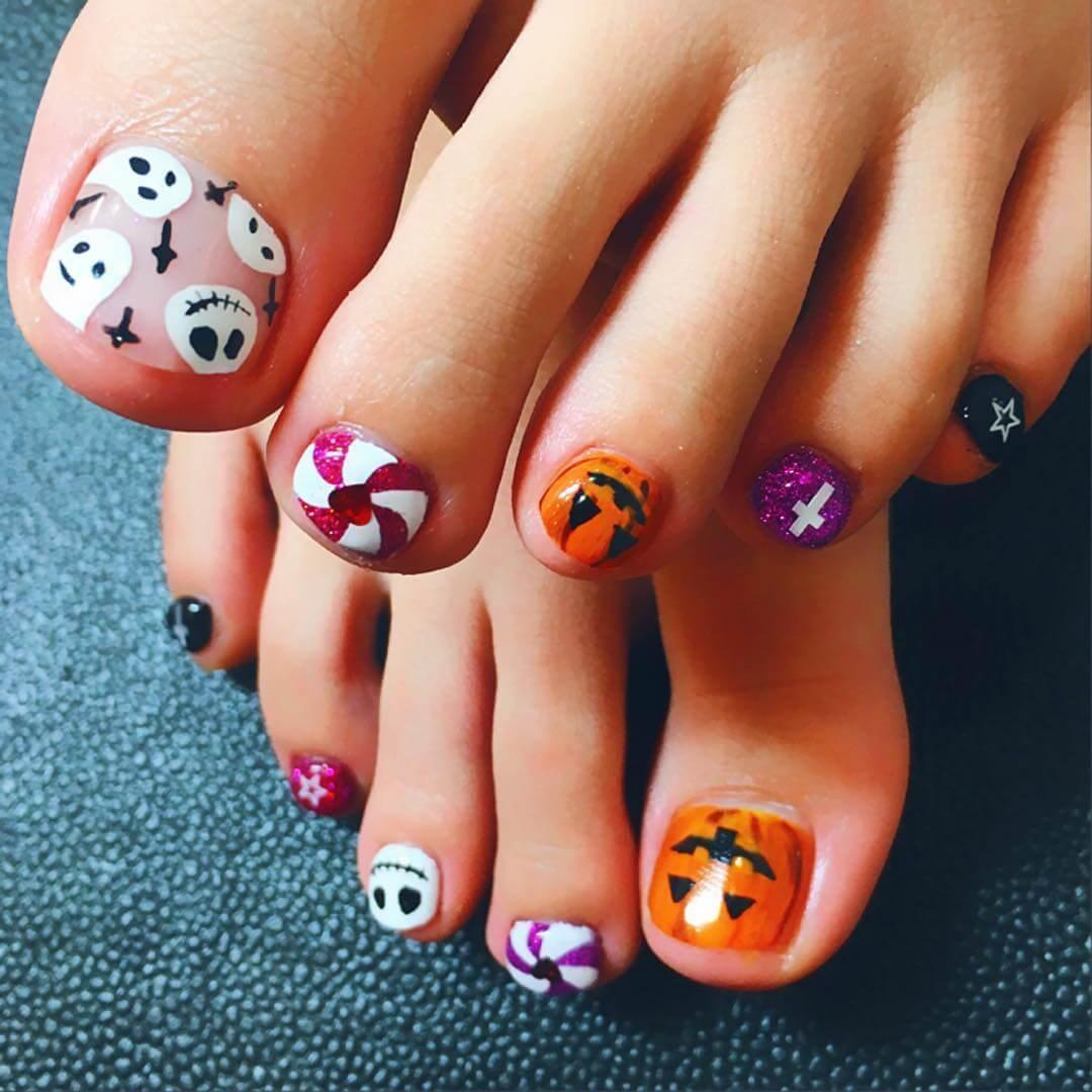 ongles de pied d'halloween