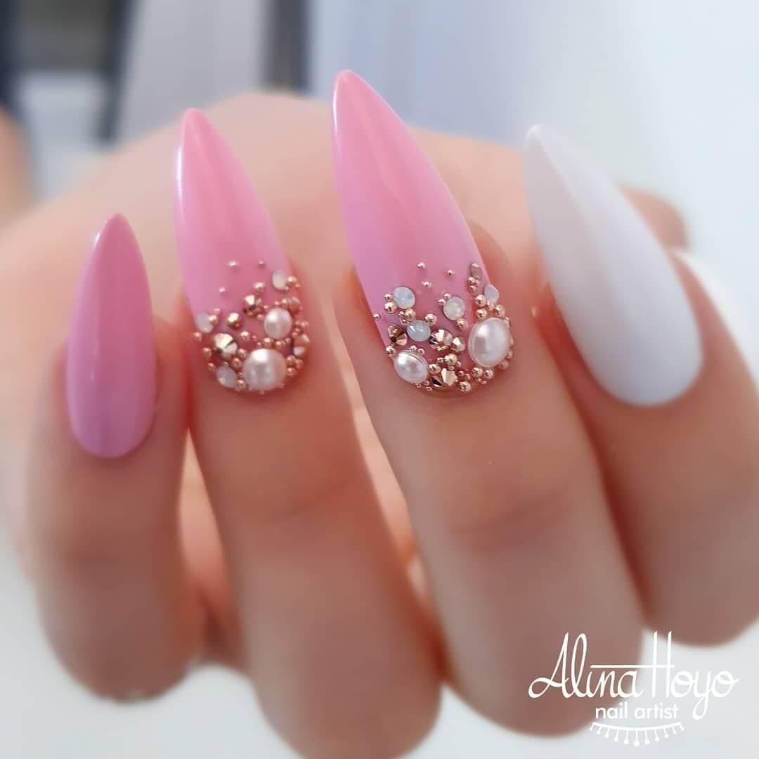 ongles de strass pour la mariée