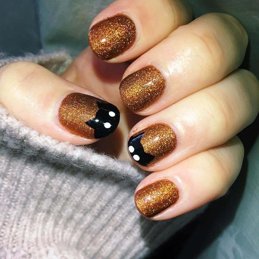 ongles d'halloween chat noir