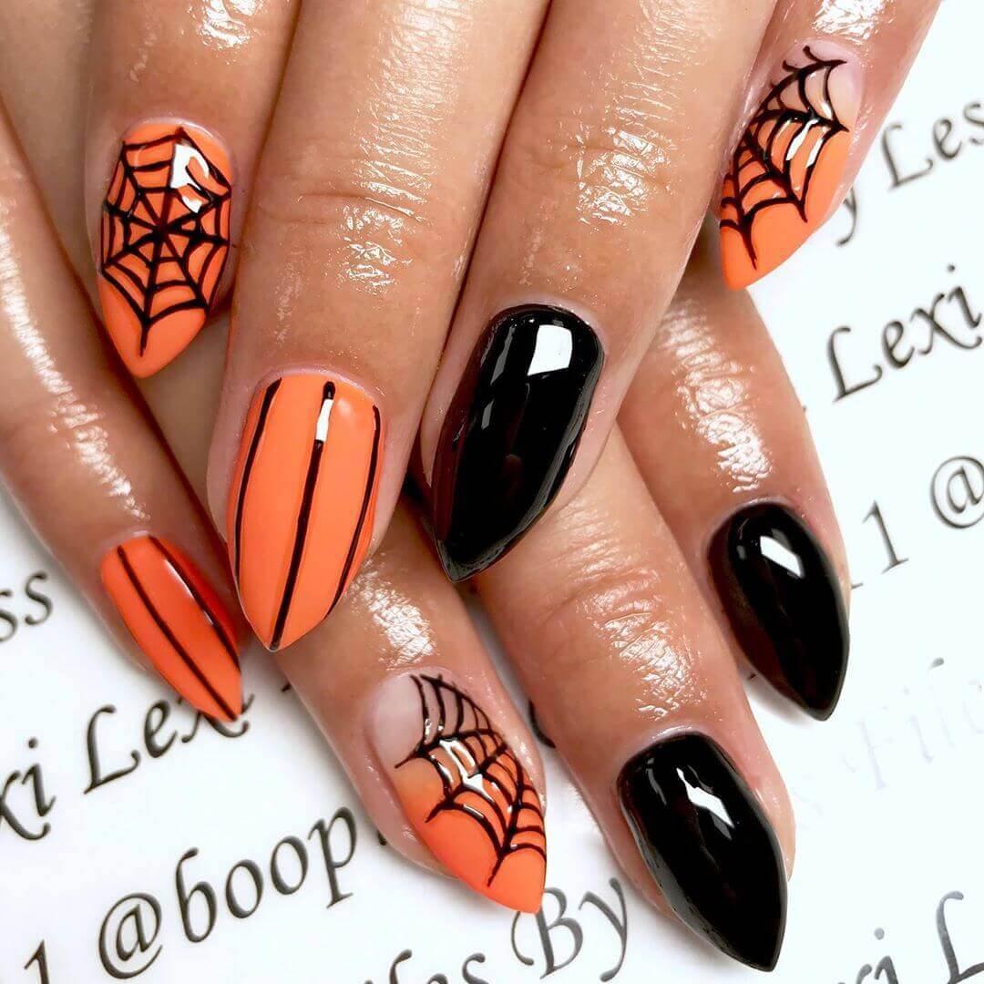 ongles de toile d'araignée décorés pour Halloween