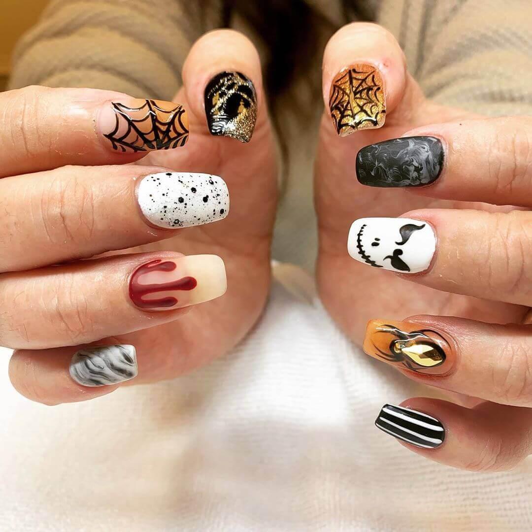 ongles d'halloween en acrylique