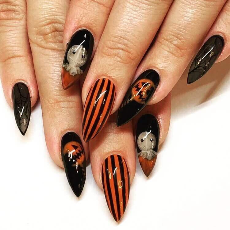 ongles d'halloween noir orange