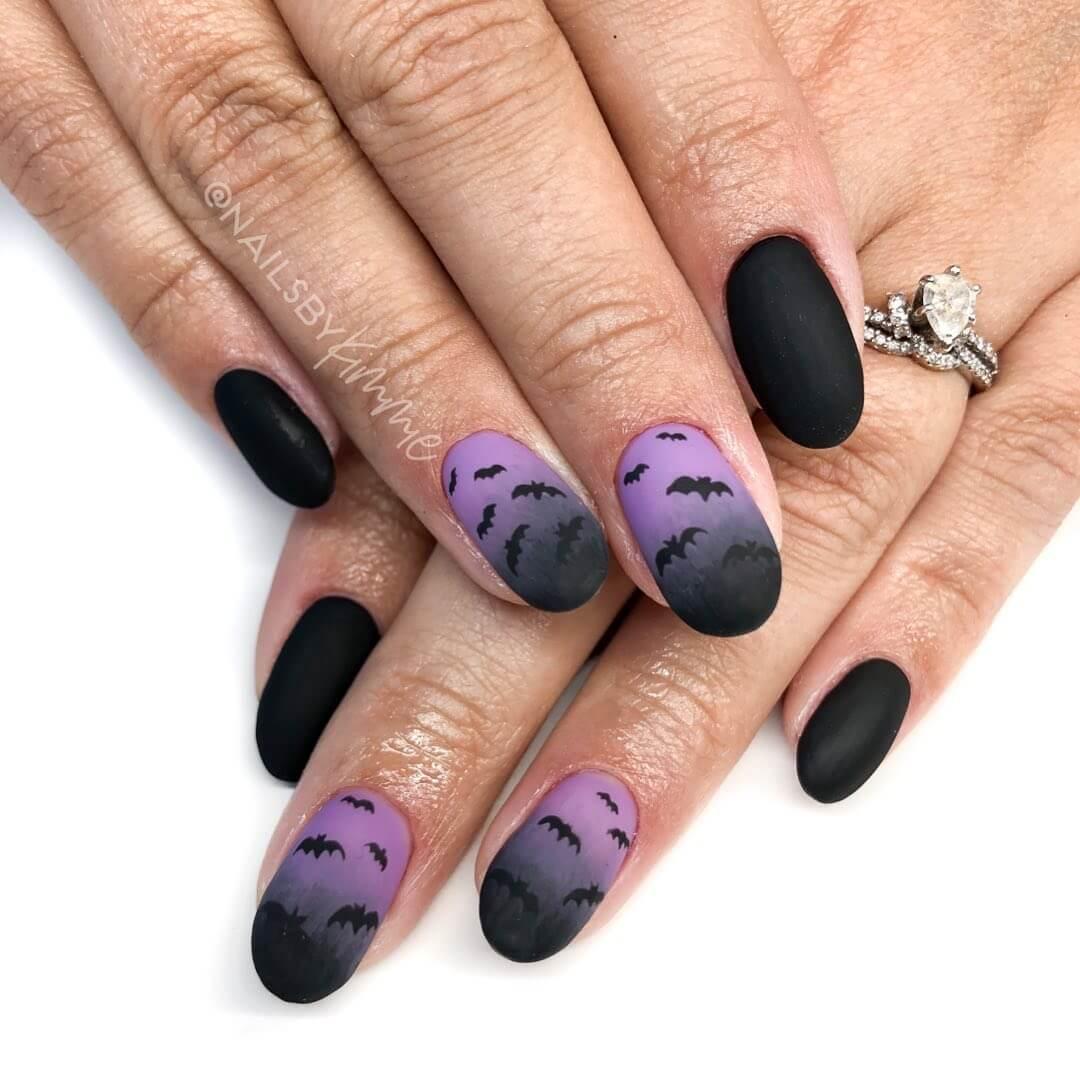 ongles d'ombre avec chauves-souris d'halloween