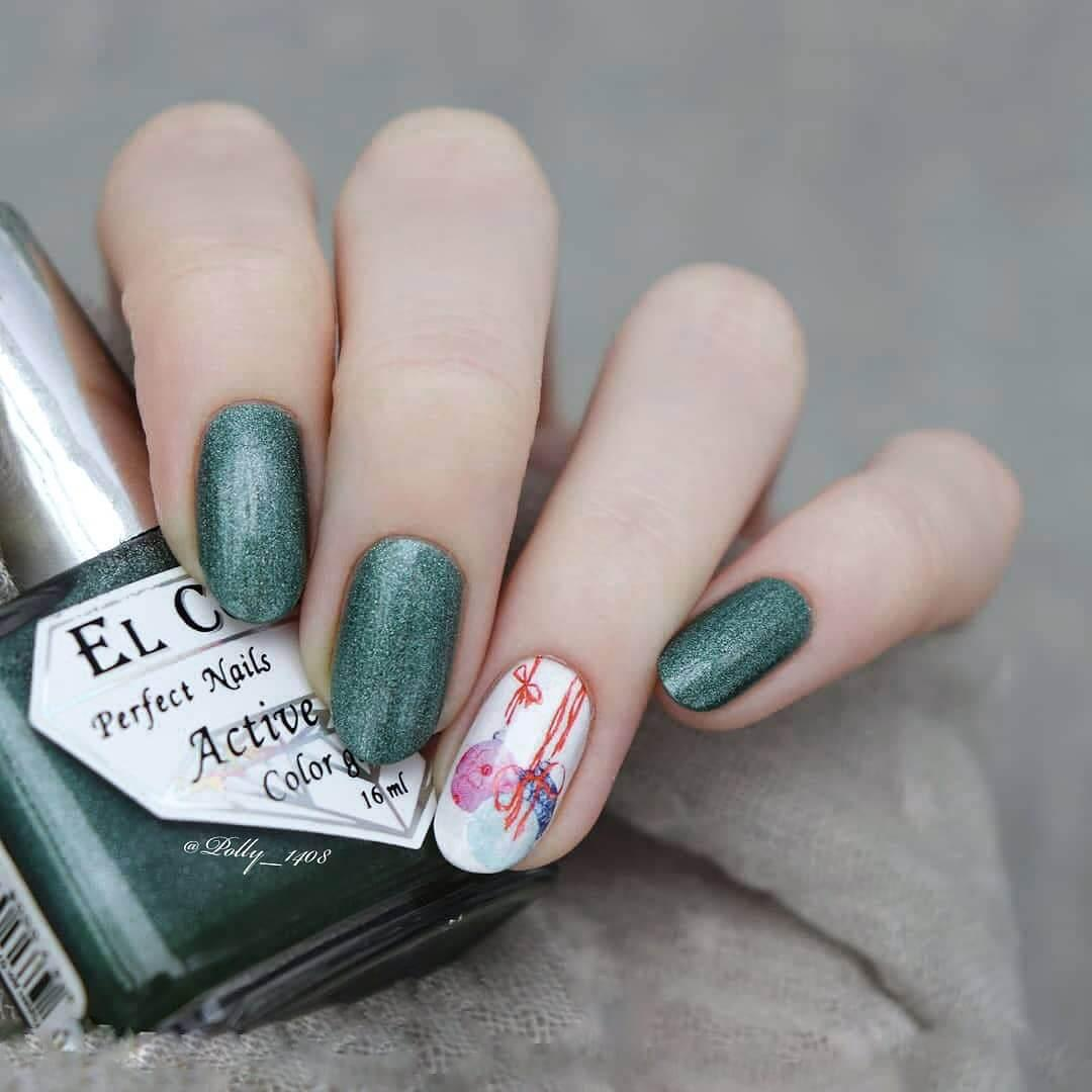 ongles élégants vert de noël