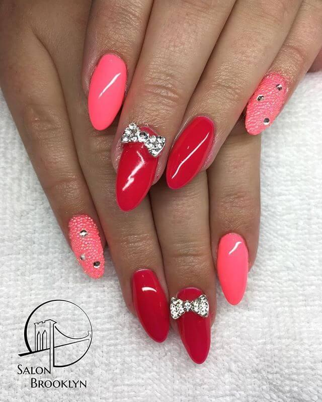 ongles en caviar rose