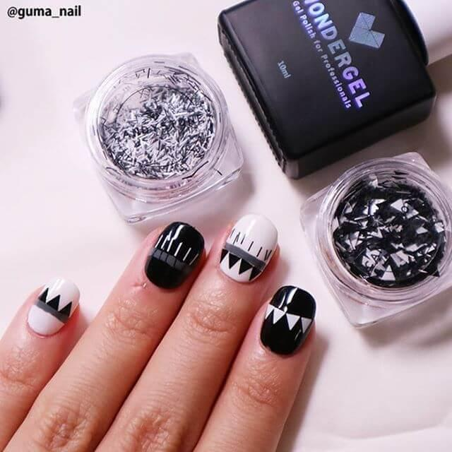 ongles en gel noir et blanc