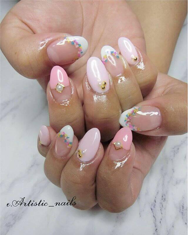 ongles en gel rose