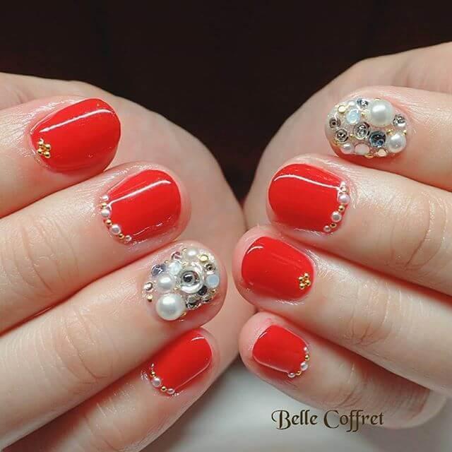 ongles en gel rouge