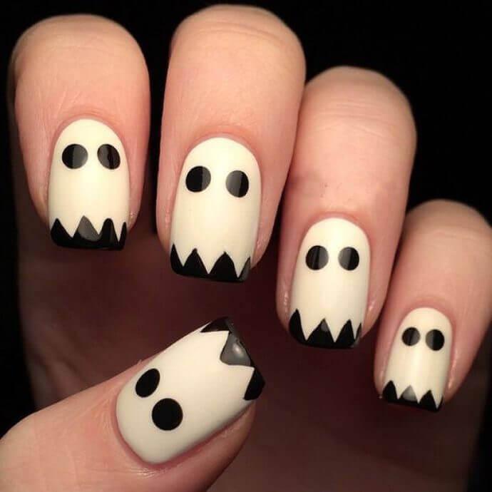 ongles fantômes d'halloween
