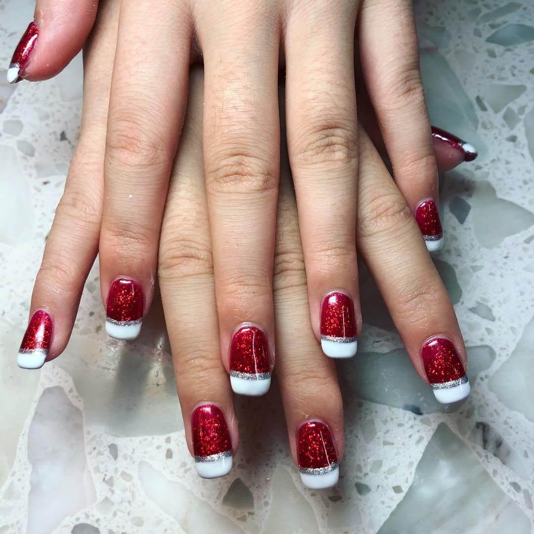 ongles rouges style noël français