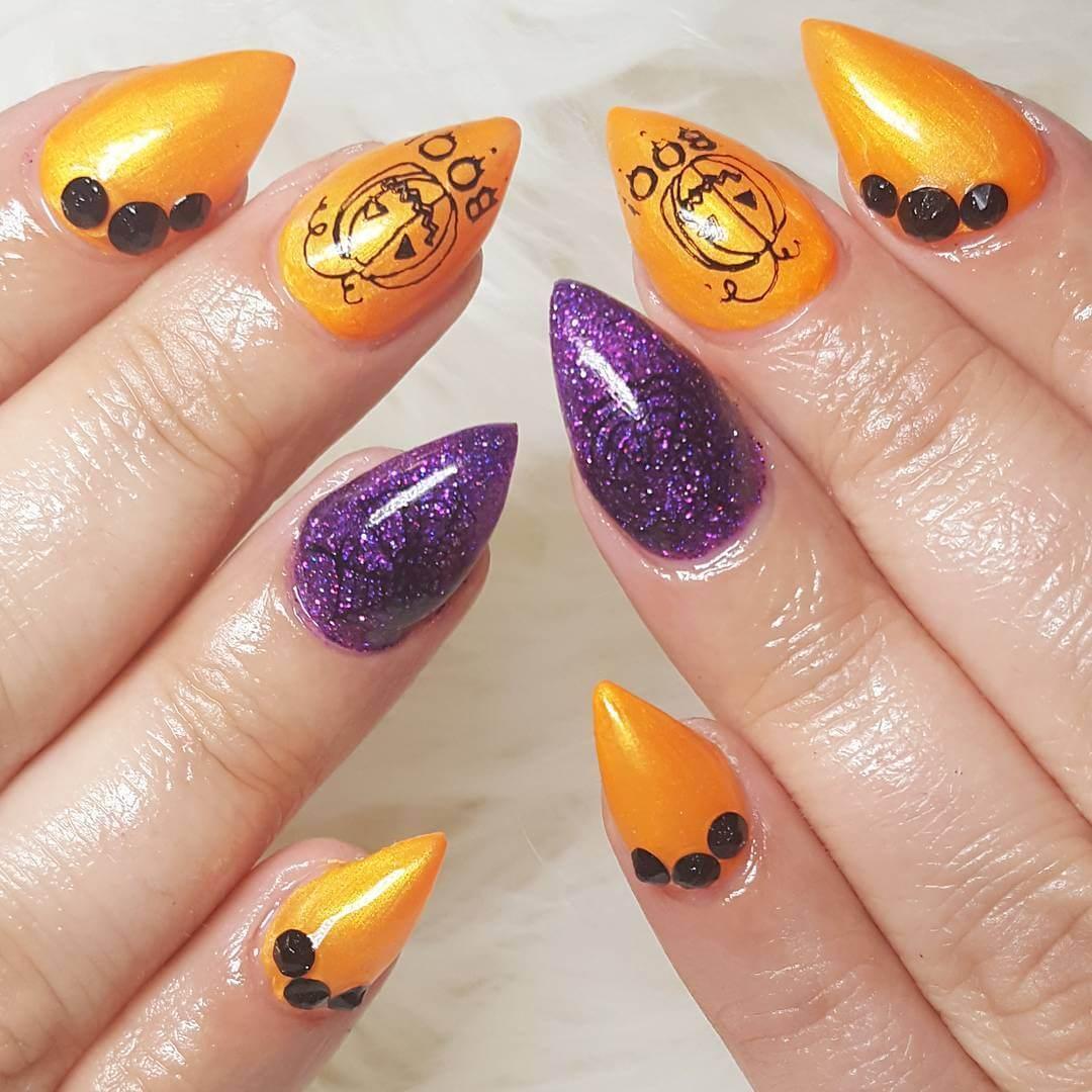 ongles orange pour l'halloween