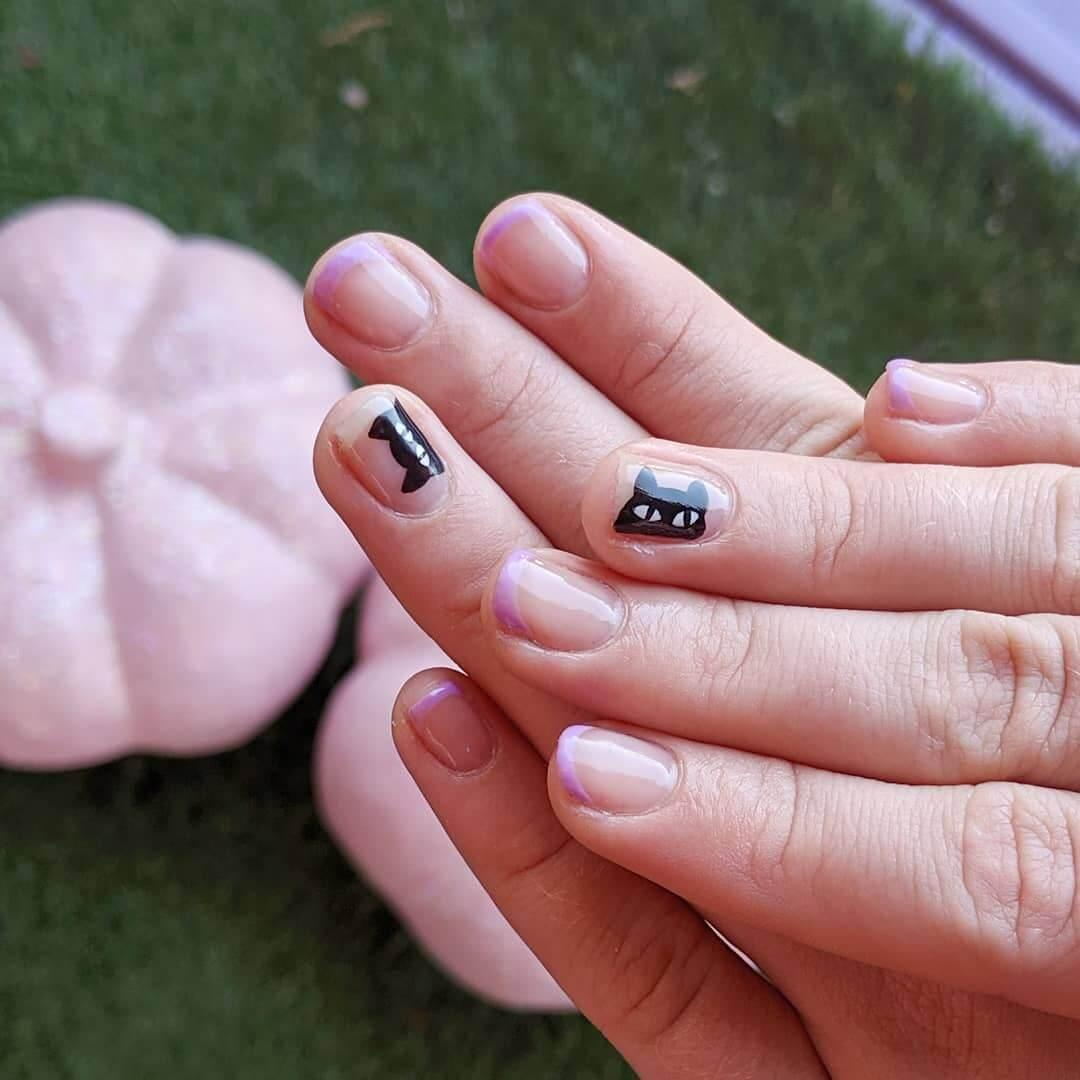 ongles simples chats d'halloween