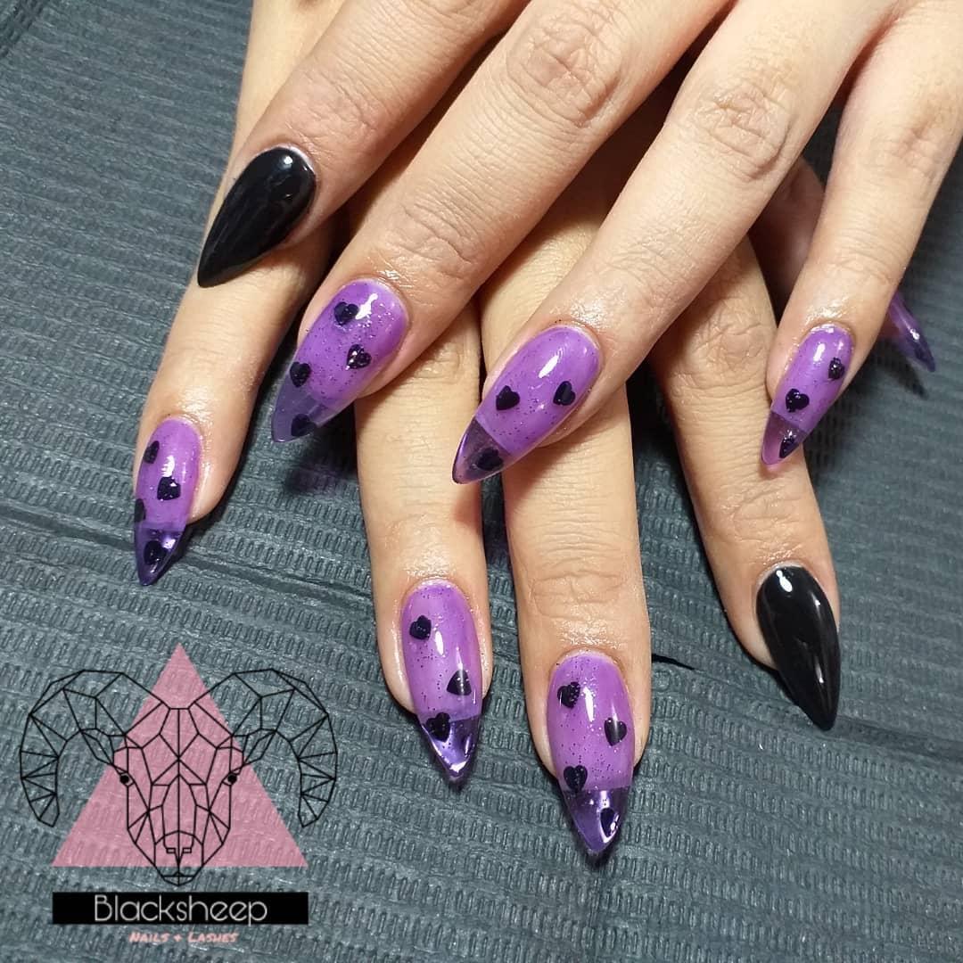 ongles violet sorcière halloween