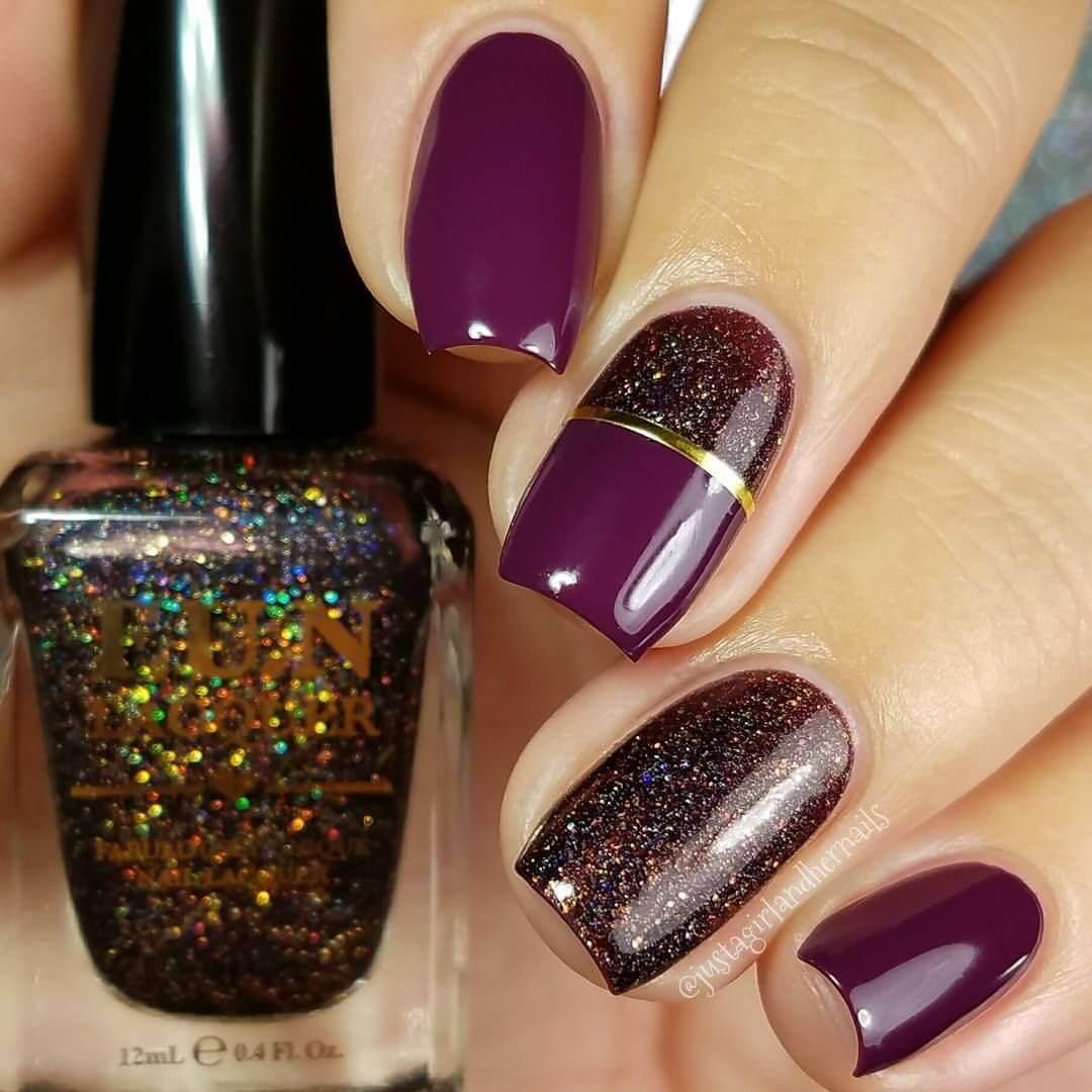 ongles violets élégants pour noël